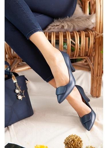 Limoya  Ten Tokalı Kısa Topuklu Stiletto Lacivert